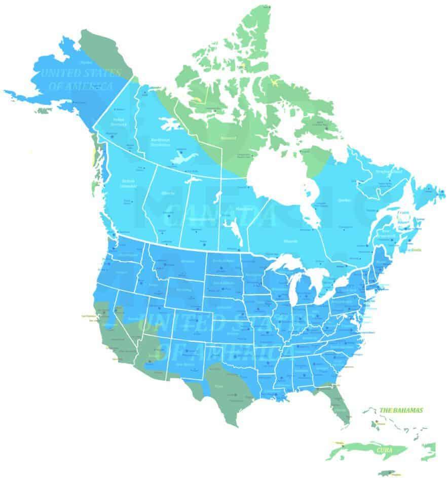 Common muskrat range map