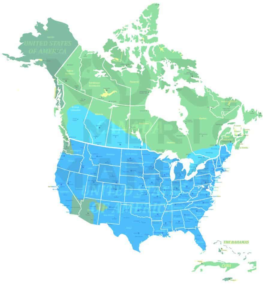 Long-tailed weasel range map